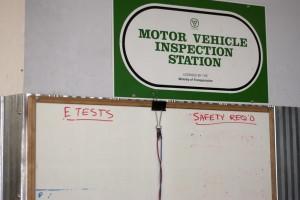 motor vehicle inspection station sign